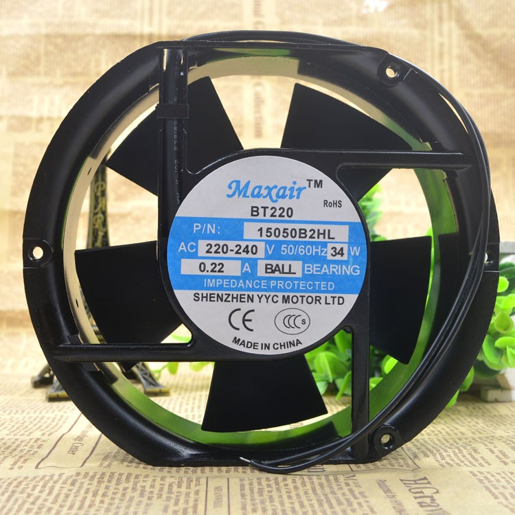 Maxair BT220 15050B2HL 220v-240v 34w 0.22A ball bearing Axial Cooling Fan