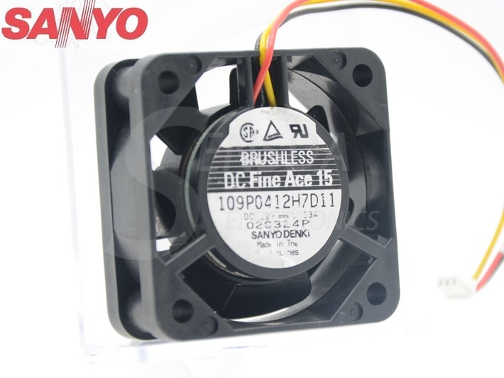 Sanyo 109P0412H7D11 40*40*15mm DC12V 0.13A TV set axial cooling fan