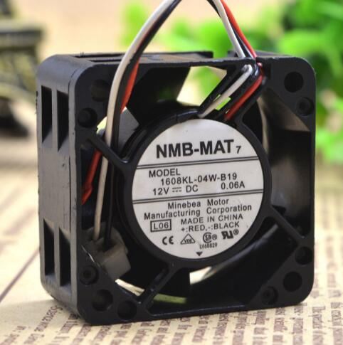 NMB-MAT 1608KL-04W-B19 4CM DC12V 0.06A 3-wire switch cooling fan