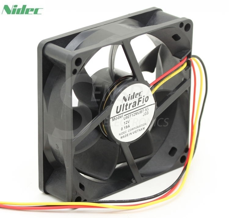 NIDEC U80T12MUB7-53  80mm DC12V 0.19A server inverter axial cooling fans