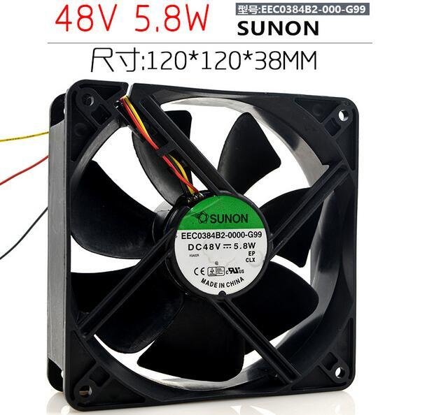 SUNON EEC0384B2-0000-G99 DC 48V 5.8W 3-Wire Cooling Fan