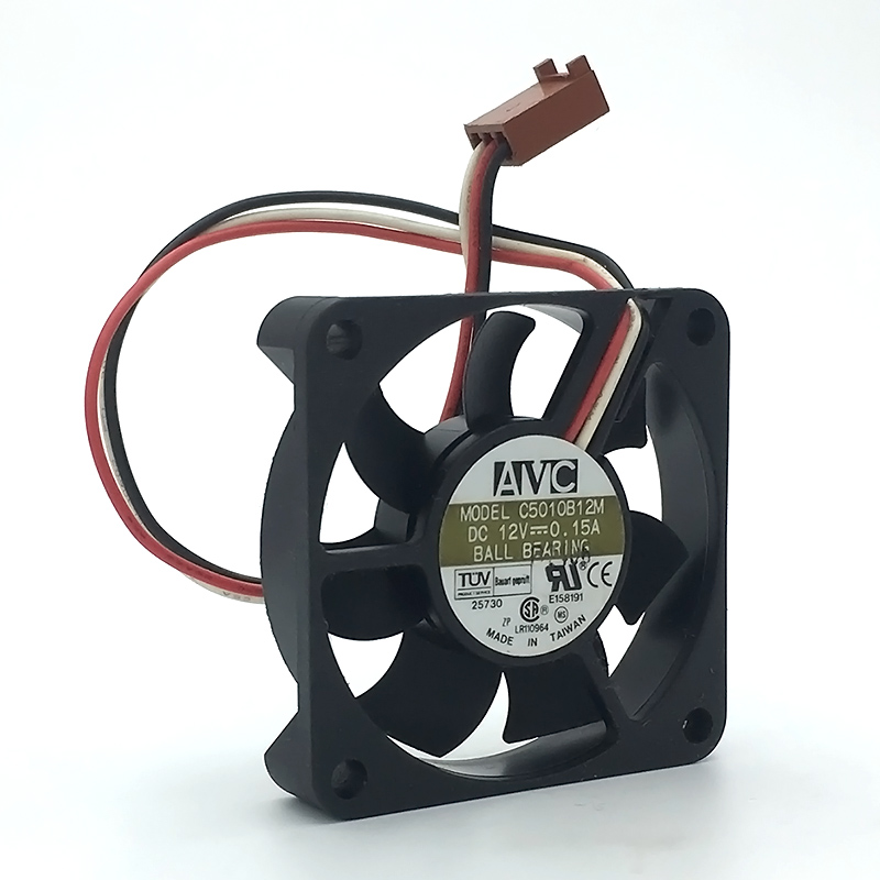 AVC C5010B12M 3-lines  DC12V 0.15A Dual Ball Bearing server inverter cooler cooling fan