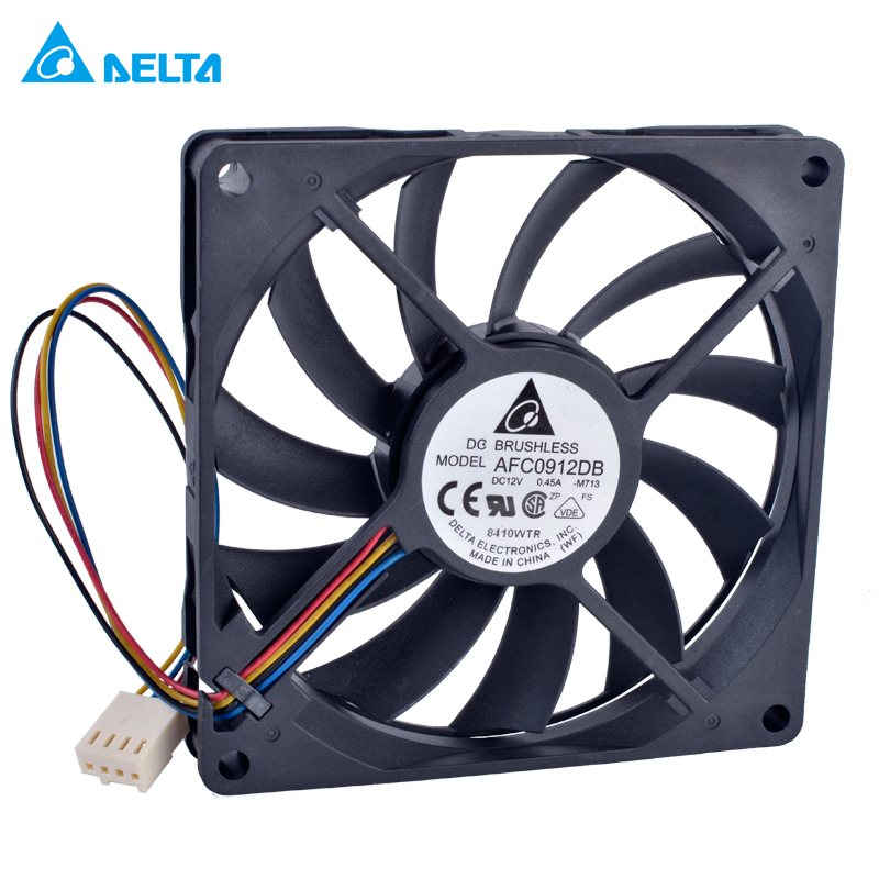 DELTA AFC0912DB DC12V 0.45A Double ball bearing 4 wire fan