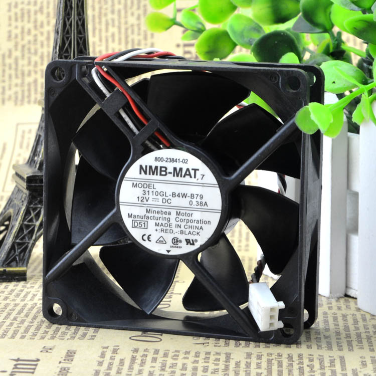 NMB 3110KL-04W-B79 DC12V 0.38A 80*80*25 three line fan switch