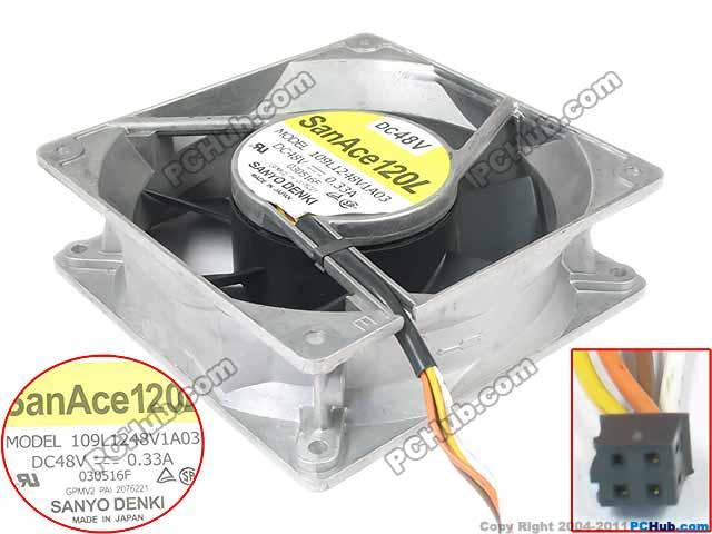 SANYO 109L1248V1A03 DC 48V 0.33A 120x120x38mm Server Square fan