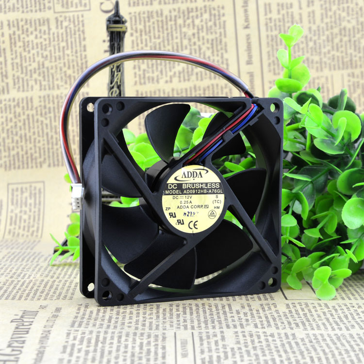 ADDA AD0912HB-A76GL 9CM DC12V  0.25A chassis power supply fan