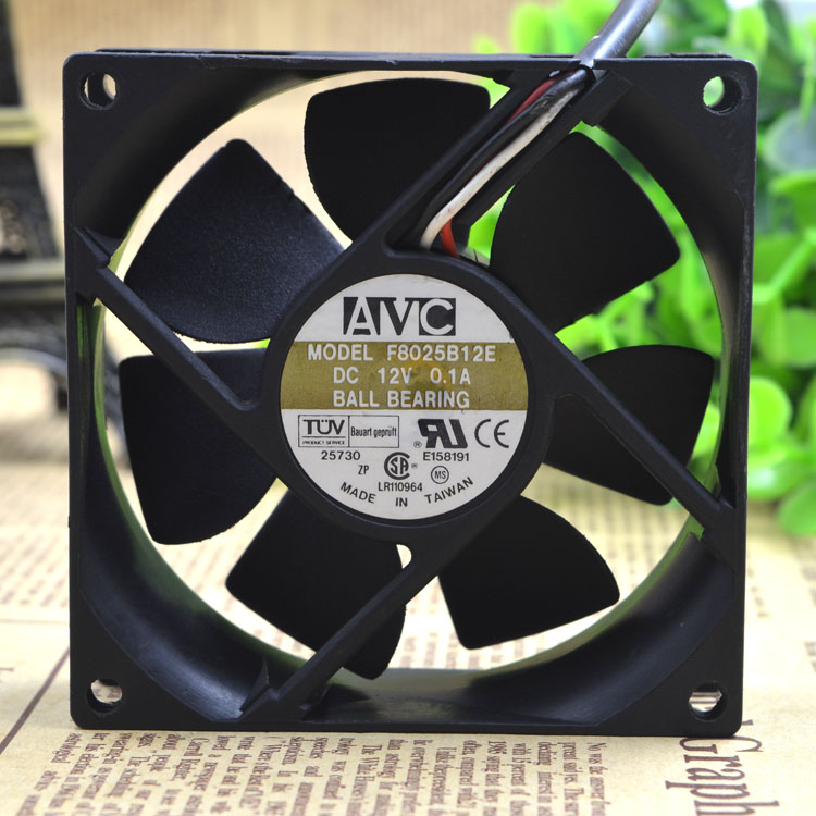AVC F8025B12E DC12V 0.1A 3 line double ball bearing cooling fan