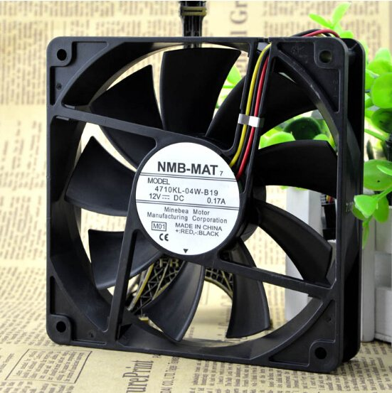 NMB 4710KL-04W-B19 12CM 0.17A 12V 3pin mute professional chassis fan