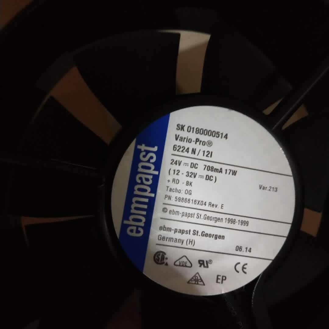 Ebmpapst 6224N/12I DC 24V 708mA 17W cooling fan