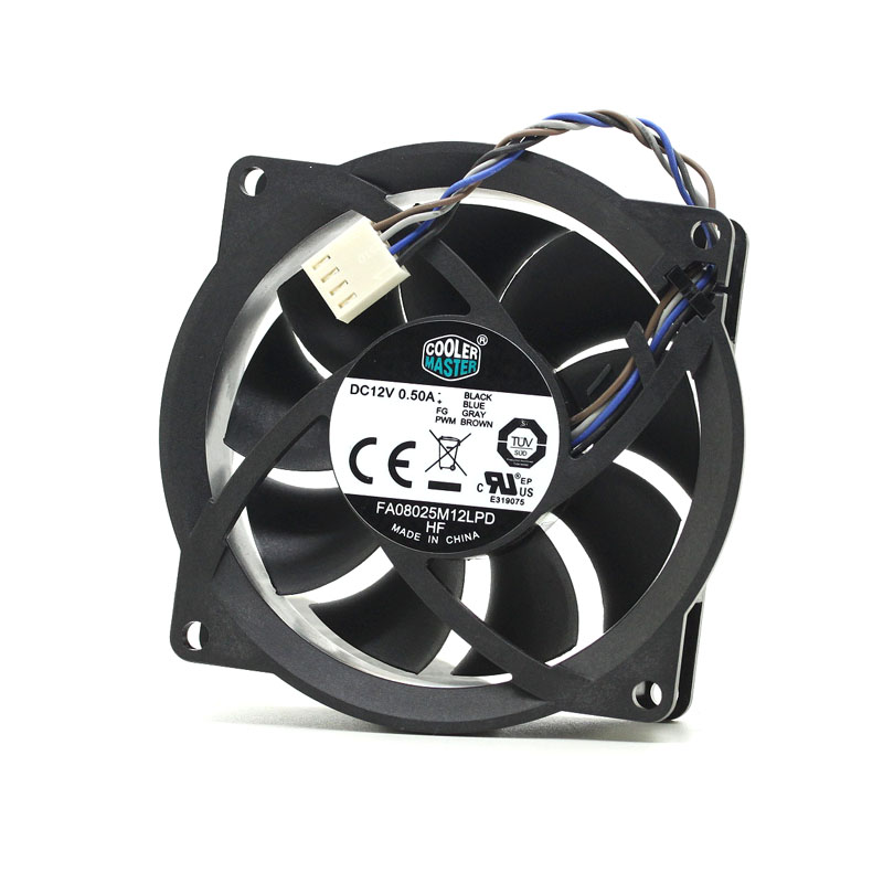 cooler master FA08025M12LPD 12V 0.50A four-wire PWM CPU cooling fan