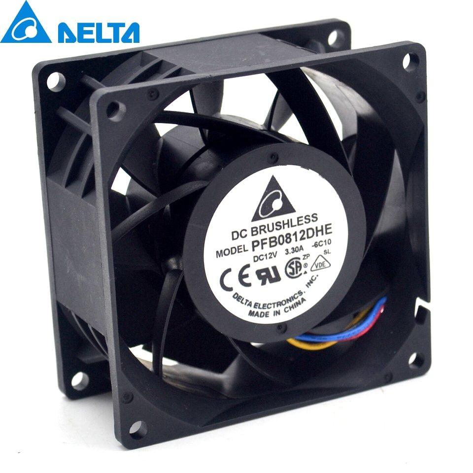 Delta PFB0812DHE 8CM  3.3A 12v 80 * 80 * 38mm Axial Cooling Fan