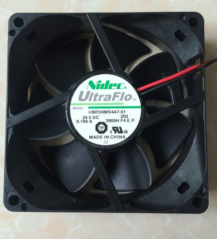 Nidec U80T24MS4A7-51 80*80*25mm 24V 0.165A 8CM cooling fan