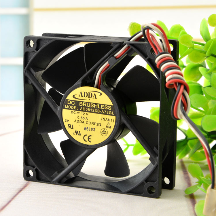 ADDA AD0812XB-A73GL 12V 0.55A  8CM 3-wire Chassis Cooling Fan