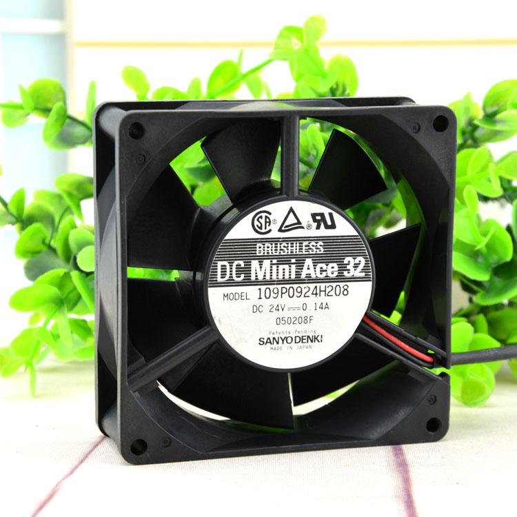 Sanyo 109P0924H208 9CM 24V 0.14A 3-wire industrial inverter fan