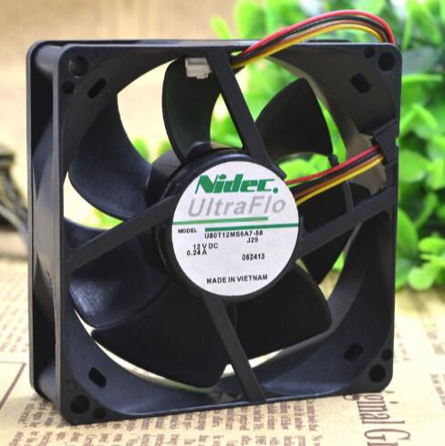 NIDEC U80T12MS6A7-58 12V 0.24A four wire inverter cooling fan