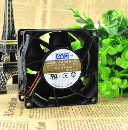 AVC DBTB0838B2S 80*80*38 12V 2.10A PWM four line temperature control high speed air fan