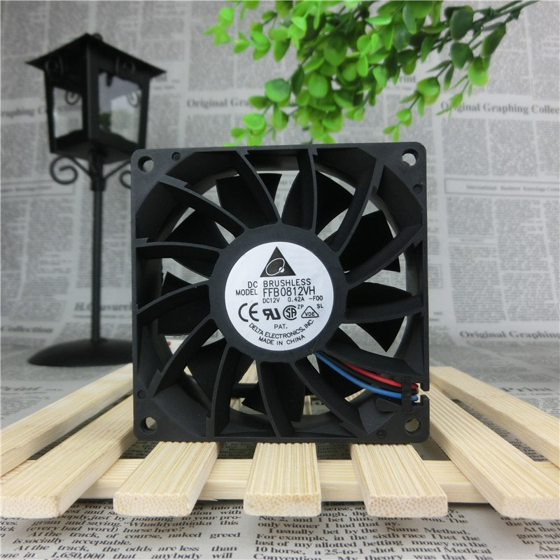 Delta FFB0812VH-FOO  DC 12V 0.42A Speed Double Ball Bearing Cooling Fan