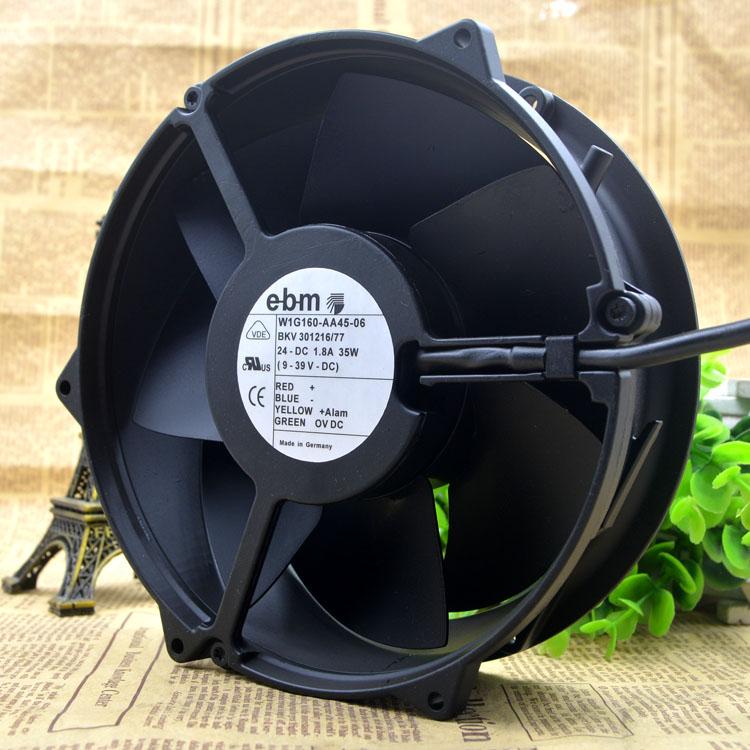 EBM W1G160-AA45-06 24V 1.8A 17CM metal high temperature resistant fan