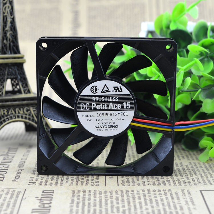 SANYO DENKI SAN ACE 8cm 109P0812M701 8015 silence 12V 0.09A cooling fan