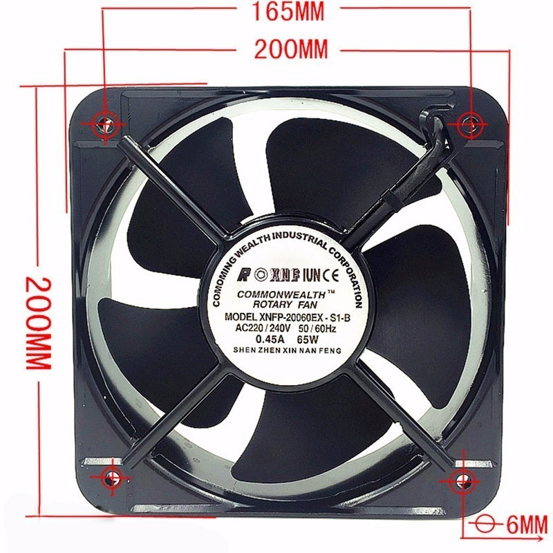 FP20060EX-S1-B 20CM  AC 220V Double Ball Bearing Case Industrial Axial Fan