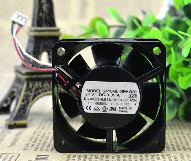 NMB 2410ML-05W-B29 24V 0.09A 60*60*25MM 3 wire cooling fan