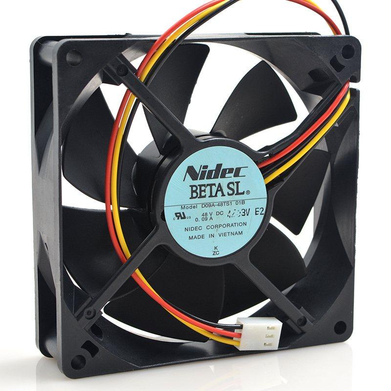 Nidec D09A-48TS1 01B DC 48V 0.09A 9CM 90*90*25mm 3 Lines Cooling Fan