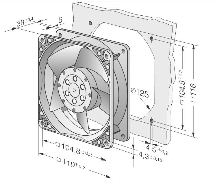 PAPST TYP4650X 230V~50Hz 19W 230V~60Hz 18W Cooling Fan