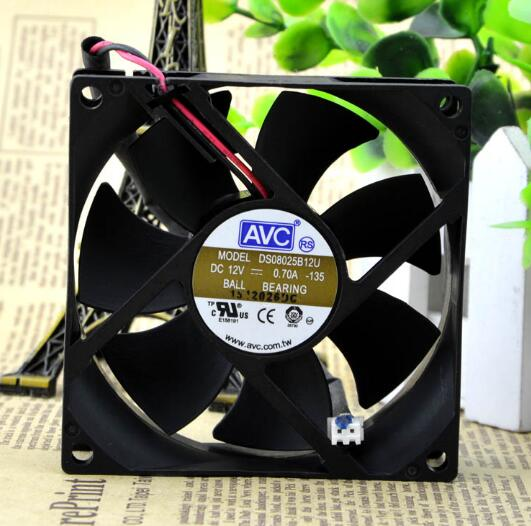 AVC DS08025B12U 8CM DC12V 0.70A  2-wire double ball cooling fan