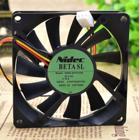 NIDEC D08R-20TH 01B 80*80*15 20V 0.15A 8CM 3 wire switch converter fan