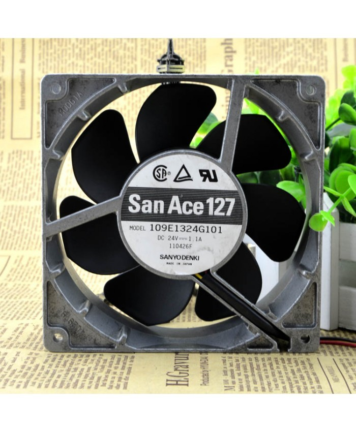 SANYO DENKI SAN ACE 109E1324G101 DC 24V 1.1A 3 wire 12.7CM Aluminum frame cooling fan