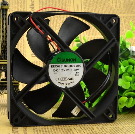 SUNON EEC0251B2-0000-A99 12V 3.4W 12CM 120*120*25 2 line mute fan