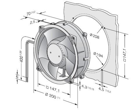 ebmpapst W1G180-AA03-09 48VDC 750MA 36W cooling fan