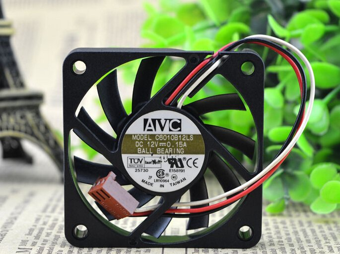 AVC C6010B12LS 60*60*10 6CM 12V 0.15A three wire double ball  fan