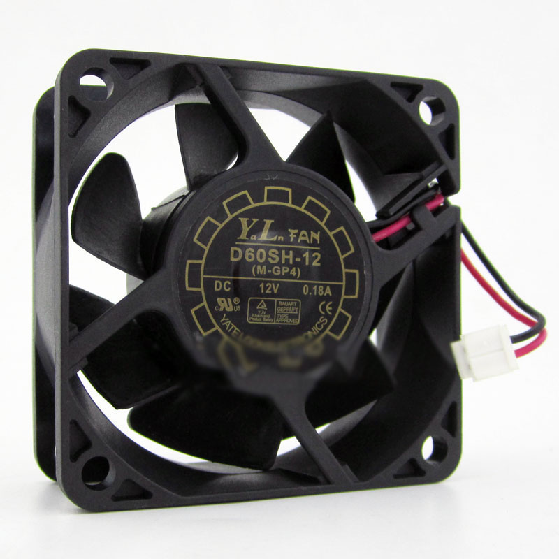 Y.L FAN D60SH-12 60*60*25mm DC12V 0.18A 2pin UPS cooling fan