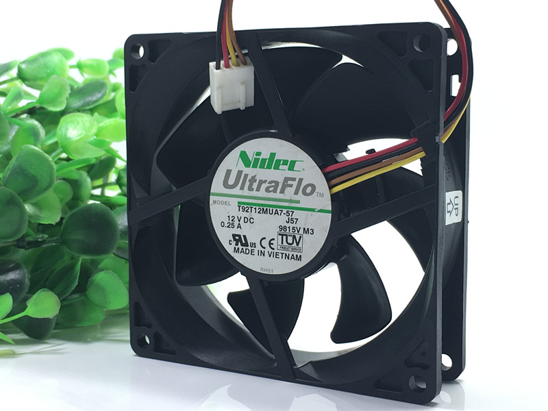 Nidec T92T12MUA7-57 12V 0.25A 4-wire temperature controlled mute fan