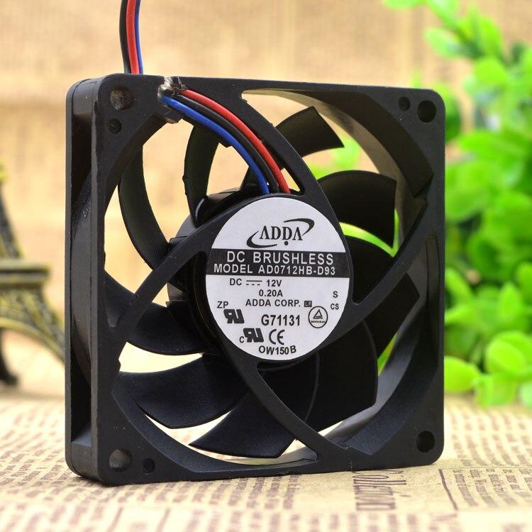 ADDA AD0712HB-D93 DC12V  7CM 0.20A  CPU cooling fan
