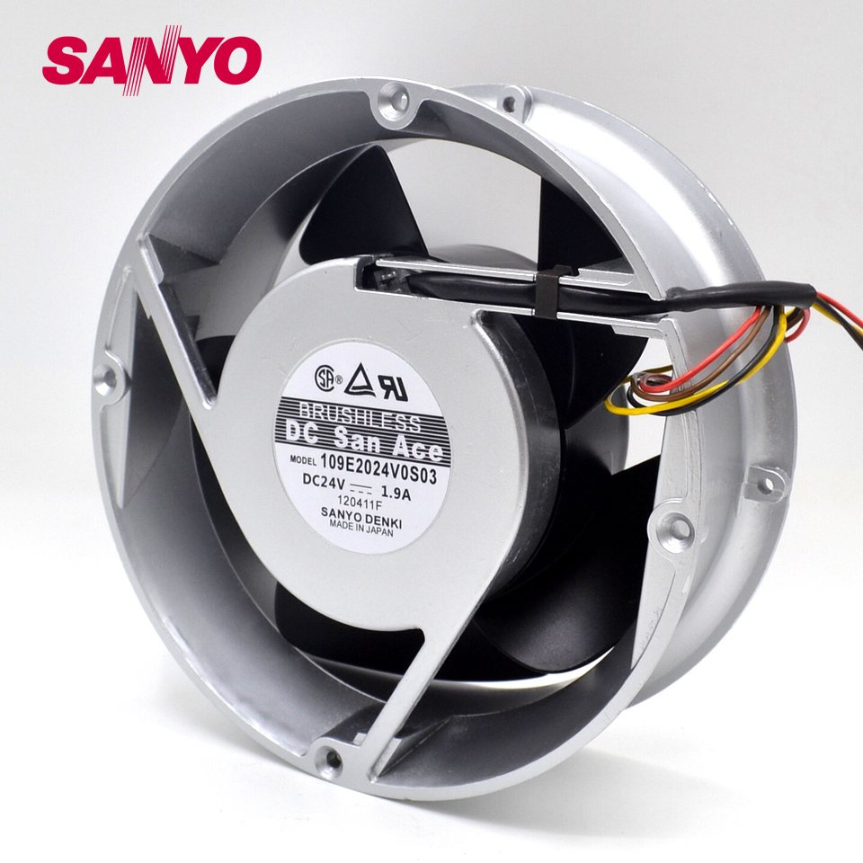 SANYO 109E2024V0S03 24V 1.9A 200*200*70MM 4-wire cooling fan