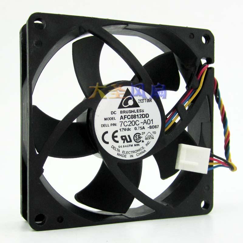 DELTA  AFC0812DD 80 8CM 12V 0.75A double ball bearing fan