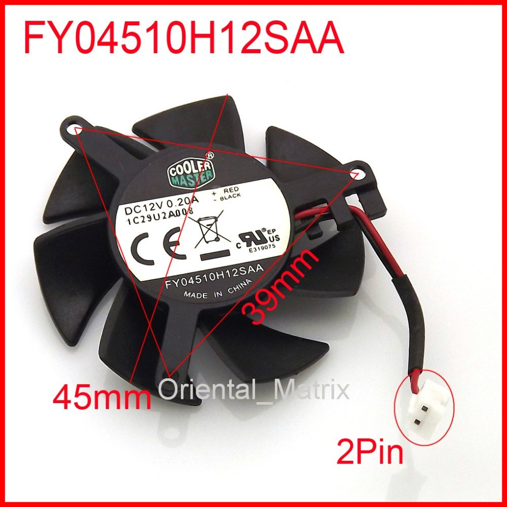 FY04510H12SAA 45mm 39*39*39mm 12V 0.2A 2Wire 2Pin  MSI R6450 6570 6670 V5 Graphics Card Cooler Cooling Fan