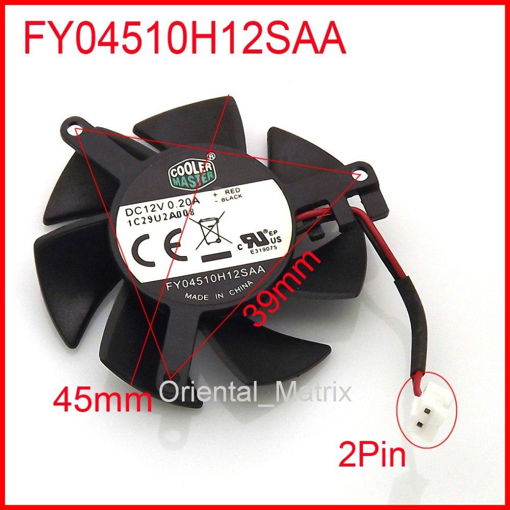 FY04510H12SAA 45mm 39*39*39mm 12V 0.2A 2Wire 2Pin  MSI R6450 6570 6670 V5 Graphics Card Cooler Cooling Fan