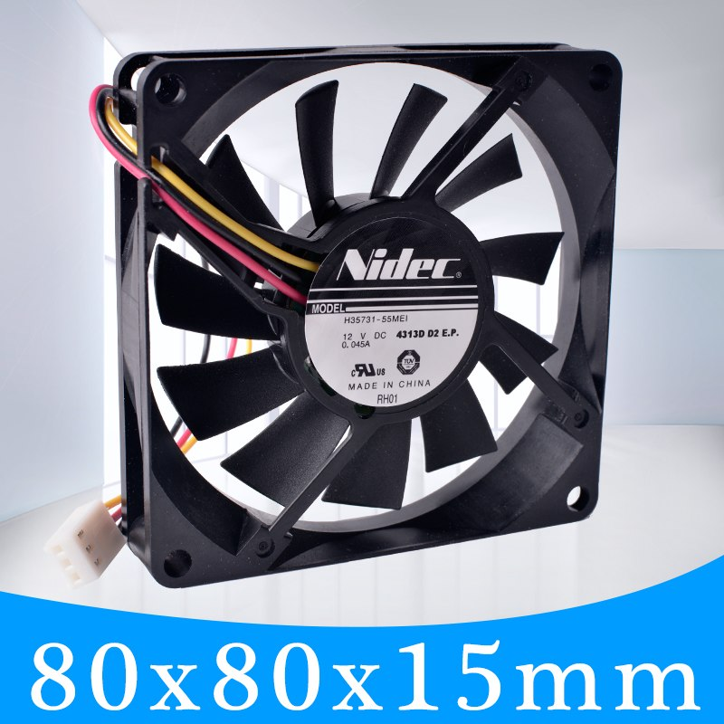 Nidec H35731-55MEI 12V 0.045a 8cm ultra-thin cooling fan.