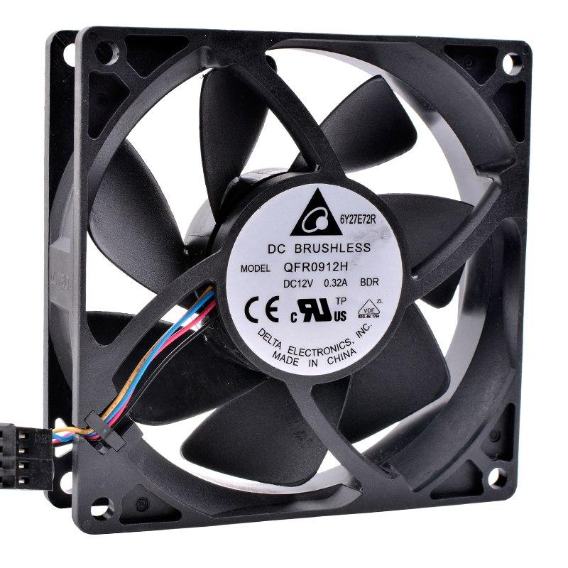 Delta QFR0912H DC12V 0.32A FX8350 4-wire CPU cooling fan