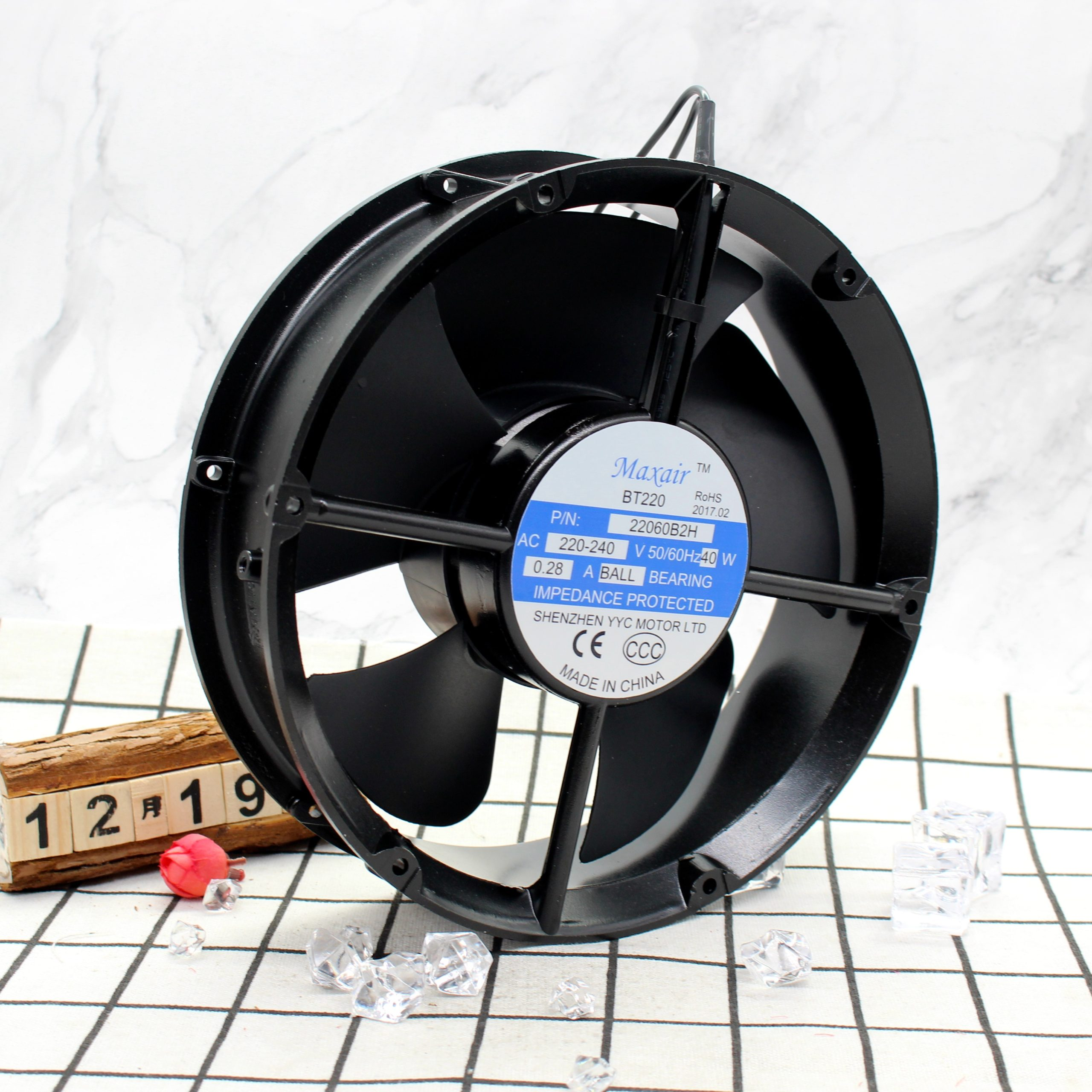 Maxair BT220 22060B2H 220V 40W Round Bearing AC Cooling Fan