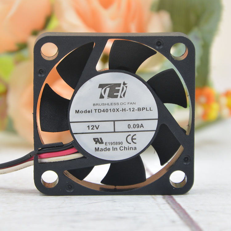 TEI TD4010X-H-12-BPLL  DC12V 0.09A 1.08W 6500RPM 3-Wires Cooling Fan