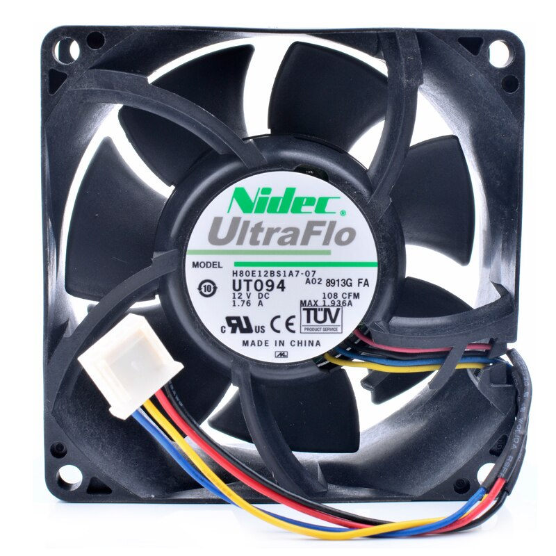 Nidec H80E12BS1A7-07 DC12V 1.76A server large air volume cooling fan