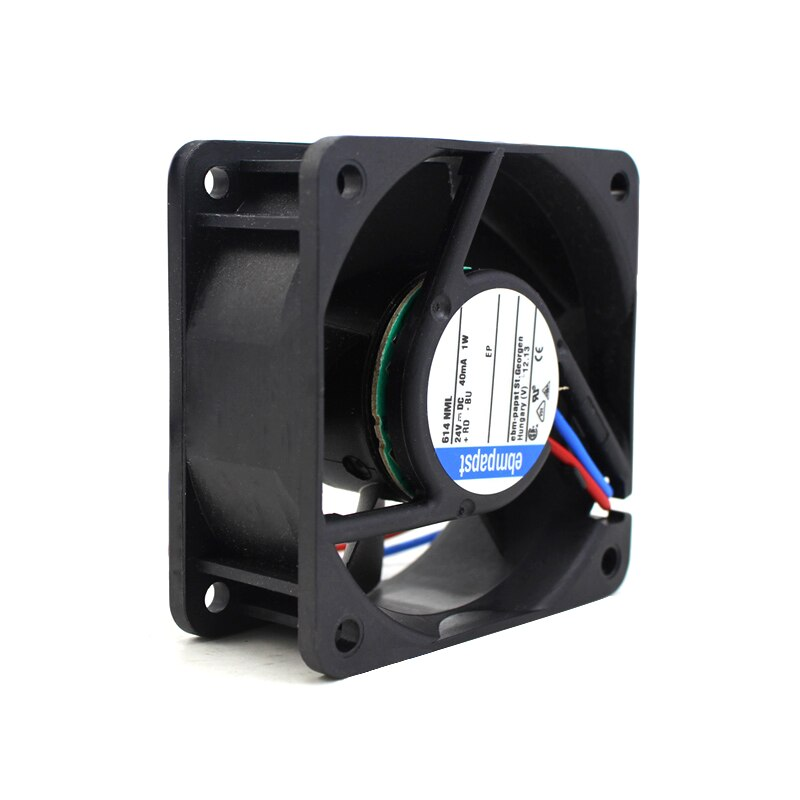 EbmPapst  614NML DC 24V 0.04A 1W  2-wire Square Cooling Fan