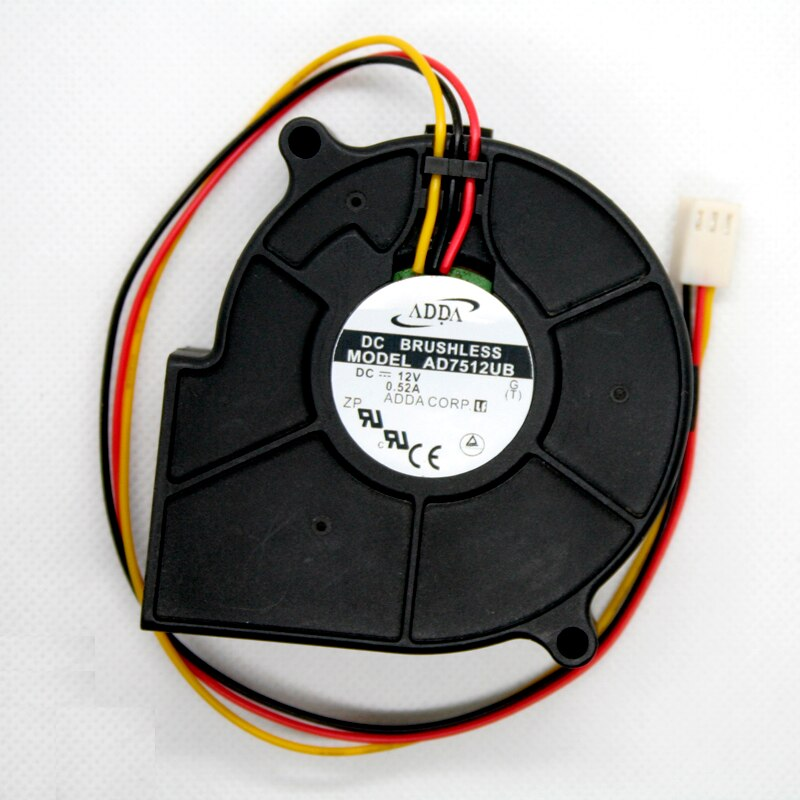 ADDA AD7512UB DC12V 0.52A 6.24W 3-LInes Turbo Blower Cooling Fan