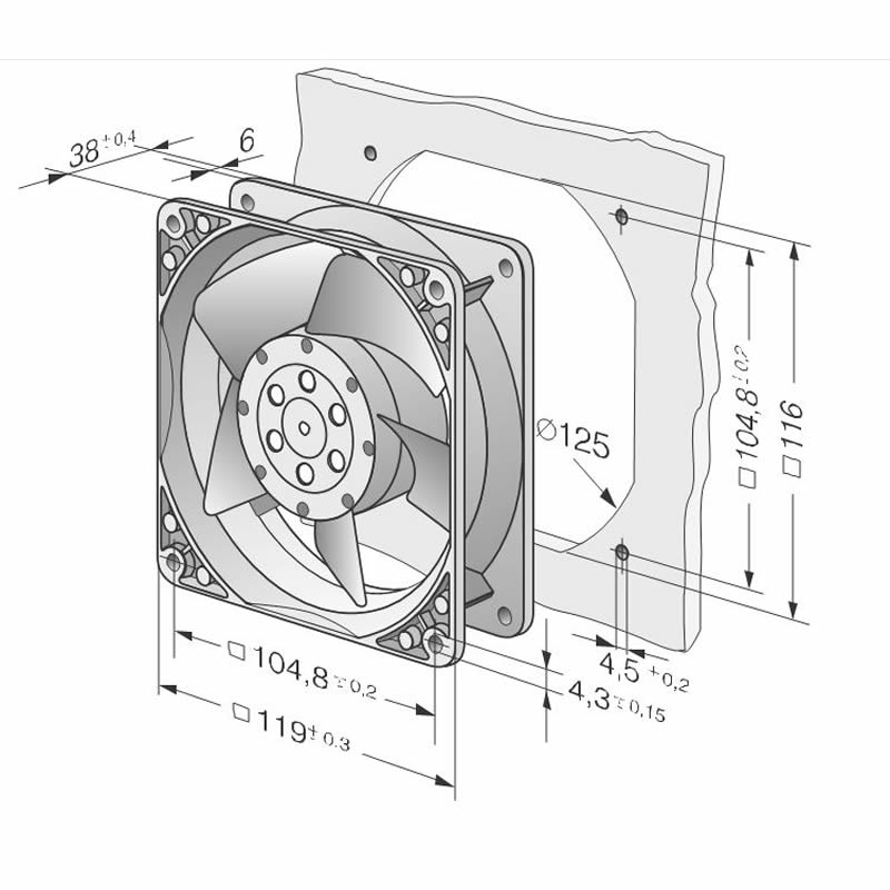 ebmpapst 4656N 465 A01 02 AC230V high temperature cooling fan