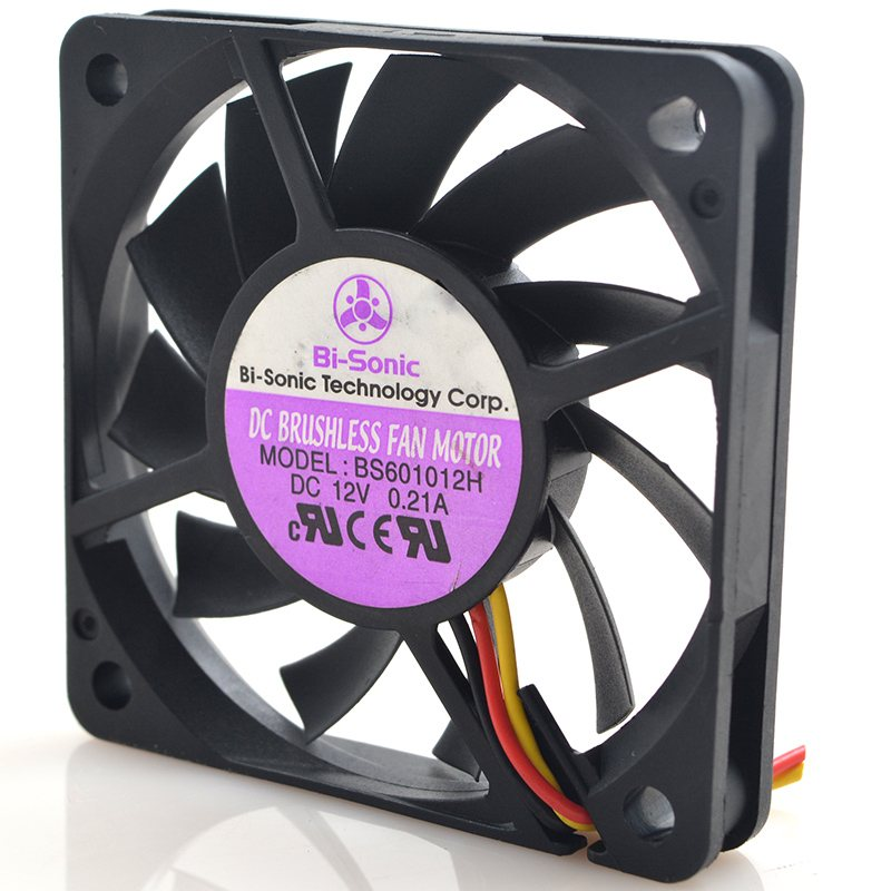 Bi-sonic BS601012H DC 12V 0.12A 3-Wires Bearing Cooling Fan