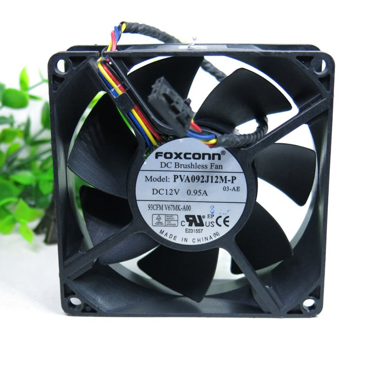 FOXCONN PVA092J12M-P 03-AE DC12V 0.95A 90x90x32mm Server Cooling Fan